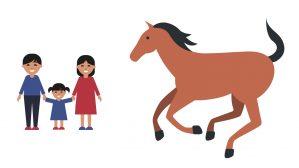 caballo y familia